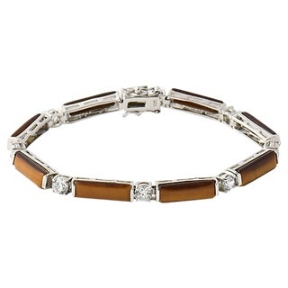 Tiger's Eye & Cz Silver Line Bracelet For Sale