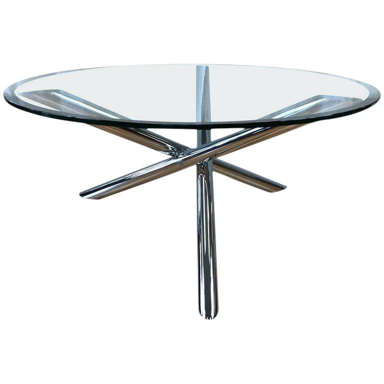 Vintage Chrome Star Base Round Glass Coffee Table For Sale
