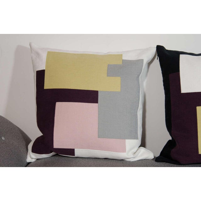 2010s Architectural Italian Linen Throw Pillows by Arguello Casa For Sale - Image 5 of 9