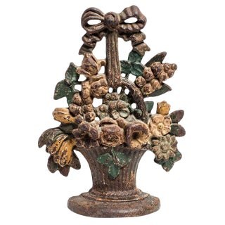 Antique Floral Bouquet With Ribbon Cast Iron Door Stop For Sale