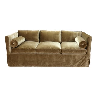 Nancy Corzine Sage Velvet Silk Velvet Tuxedo Sofa For Sale