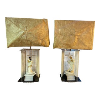 Moss Plexiglass and Ceramic Figurines Spinning Table Lamps - a Pair For Sale