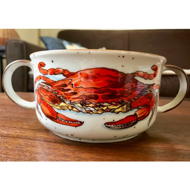 Vintage D. H. Holmes Double Handle Crab Chowder Bowls - Set of 4 For Sale In Boston - Image 6 of 9