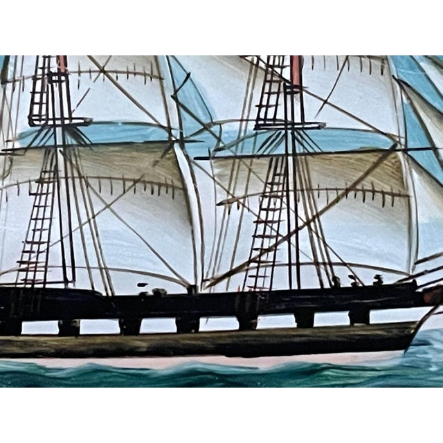 Wood Vintage American Clipper Ship Reverse Painted Wood Box, Round Trinket Box For Sale - Image 7 of 11