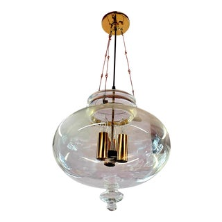 1960s Vintage Glass Globe Hanging Light Fixture For Sale
