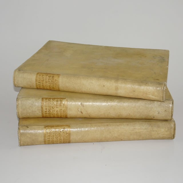 A set of three all Vellum books from the 18th Century