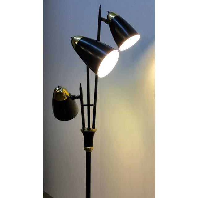 Mid-Century Black & Brass Adjustable Floor Lamp - Image 5 of 5
