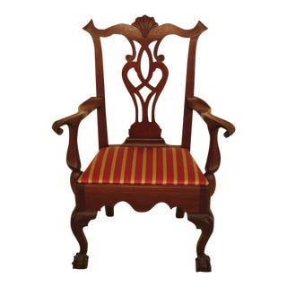 1950s Bench Made Hand Crafted Chippendale Walnut Armchair For Sale