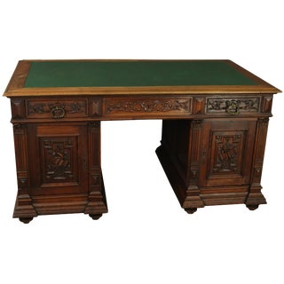 Partners Desk Renaissance French 1890 Carved For Sale