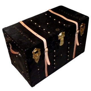 1930s Vintage Black Metal Trunk For Sale