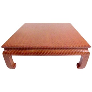 1970s Choiserie Baker Grasscloth Lacquered Coffee Table For Sale