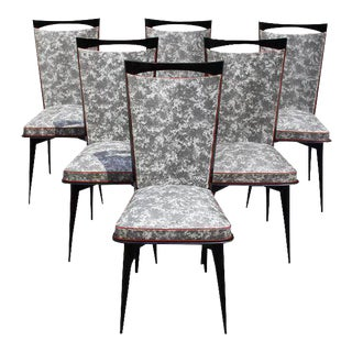 Beautiful French Art Deco Solid Mahogany Dining Chairs - Set of 6