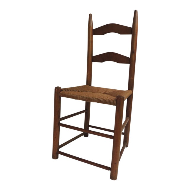 Antique Shaker Country Child's Chair with Rush Seat For Sale