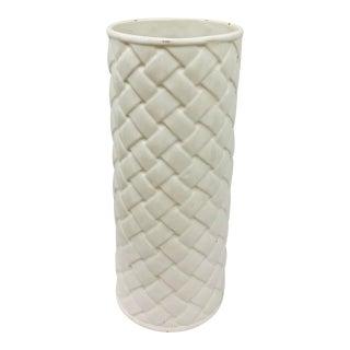 Vintage White Ceramic Basket Weave Style Umbrella Holder/Flower Vase For Sale
