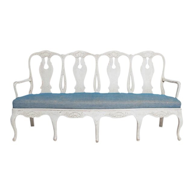 Late 19th Century Swedish Rococo Bench For Sale