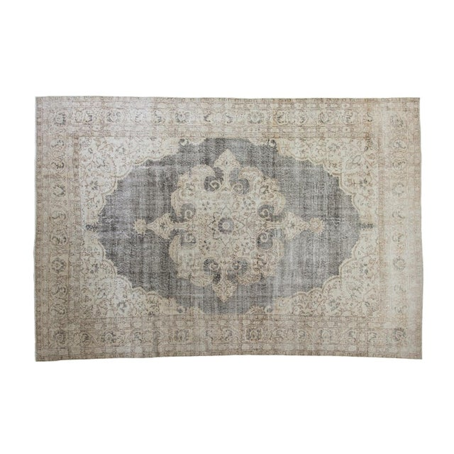 "Distressed Scalloped Oushak Carpet - 6'10"" x 10'3"" - Image 1 of 5"