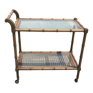 1970s Anglo-Indian Faux Bamboo Two-Tier Wooden Bar Cart For Sale