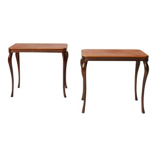Leather Top Side Tables by Frits Henningsen