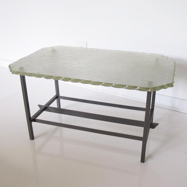 Fontana Arte Style 1960s Italian Glass Slab and Metal Coffee or Cocktail Table For Sale - Image 10 of 10