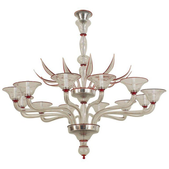 1940s Style Italian Venetian Murano Modern Clear Glass & Red Trimmed Chandelier For Sale In New York - Image 6 of 6