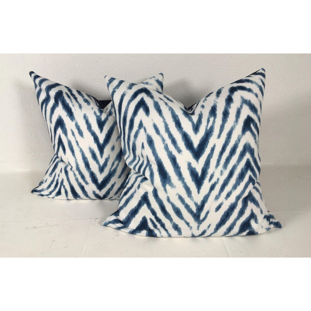 Cotton Large Flame Stitch White & Blue Pillows – a Pair For Sale - Image 7 of 8