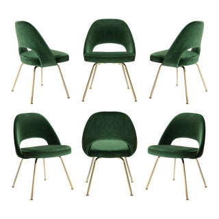 Executive Armless Chairs in Emerald Velvet, 24k Gold Edition - Set of 6 For Sale