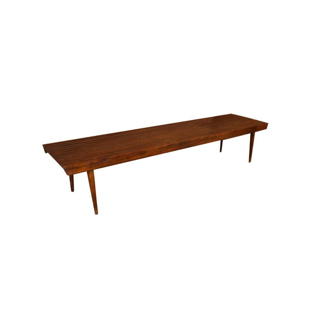 Extra Long Mid Century Slatted Wood Bench Coffee Table George Nelson Style For Sale In Baltimore - Image 6 of 12