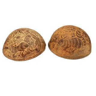 Primitive Gourds Bowls - a Pair For Sale