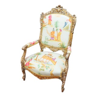 Italian Renaissance Chinoiserie Style Bergere Chair For Sale