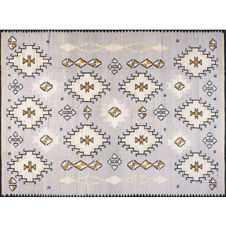 Gray Navajo Style Wool Rug - 9′ × 12′ For Sale