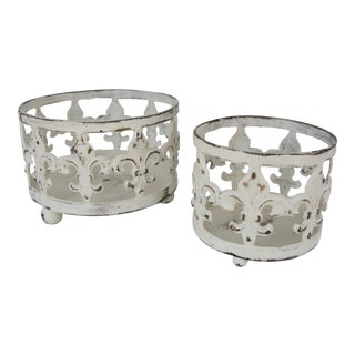 Distressed Fleur de Lis Candle Holders - A Pair