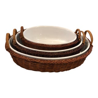 Rattan & Ceramic Nesting Serving Dishes For Sale