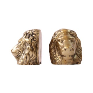 Solid Brass Lion Head Bookends - A Pair For Sale