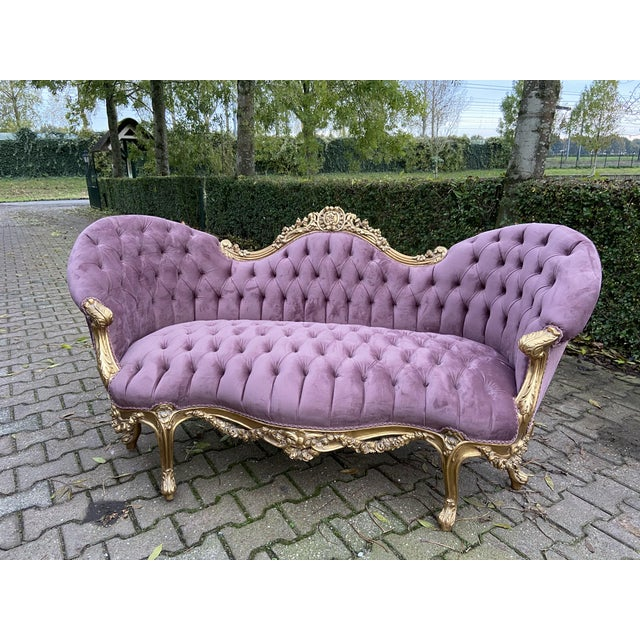 Purple New Purple French Louis XV Style Sofa. Made to Order For Sale - Image 8 of 8