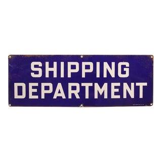 "1930's Vintage Original Enamel ""Shipping Department"" Sign For Sale"