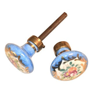 Hand-Painted Gilded Porcelain Doorknobs - A Pair