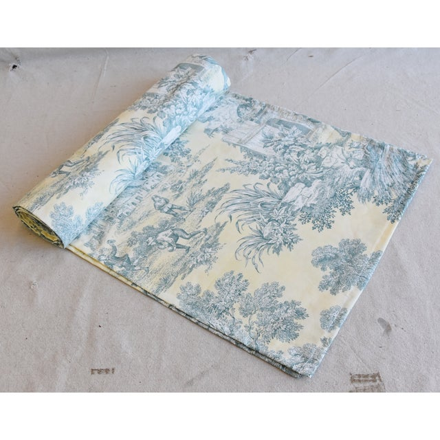 "White Custom French Farmhouse Country Toile Table Runner 110"" Long For Sale - Image 8 of 9"