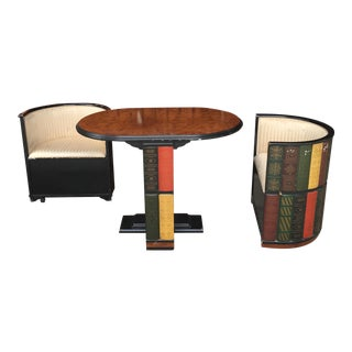 1970s Vintage Design Toscon Library Ensemble Club Chairs & Table- 3 Pieces For Sale