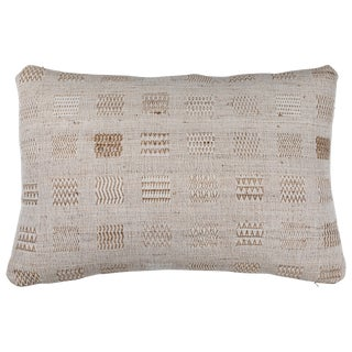 Indian Handwoven Weave Ivory Window Pillow For Sale