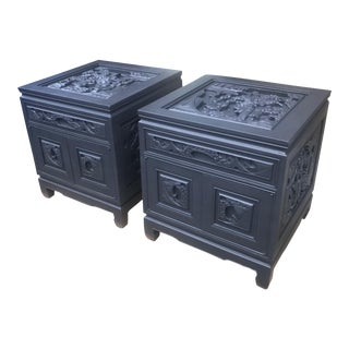Vintage Carved Chinoiserie Side Tables-A Pair For Sale