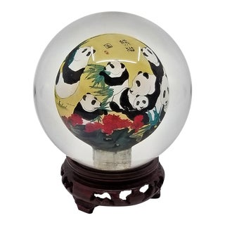 Vintage Chinese Reverse Painted Crystal Ball With Panda Bears and Bamboo- Signed For Sale
