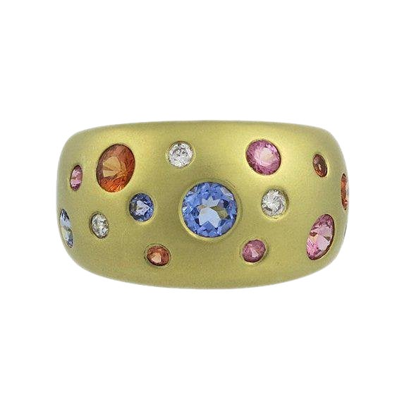 14kt Sapphire & Diamond Ring by Mazza Bartholomew For Sale