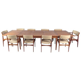 Danish Modern Dining Set With Ten Dining Chairs For Sale