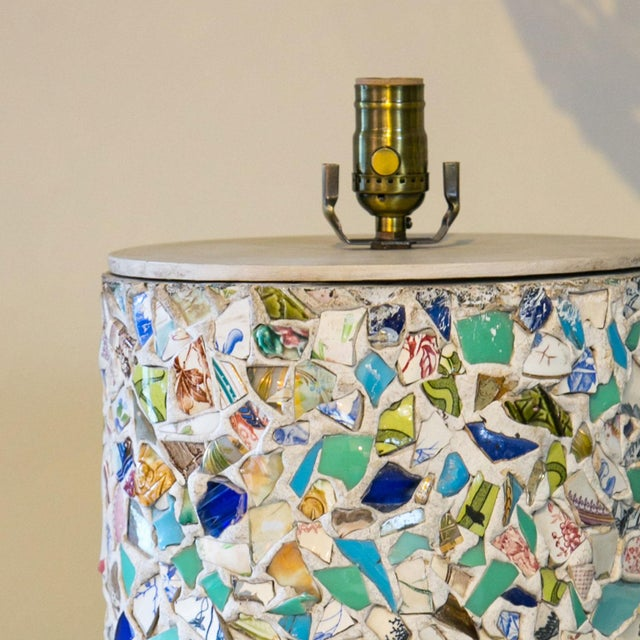 Arts & Crafts Wonderfully Unique Mosaic Lamp For Sale - Image 3 of 6