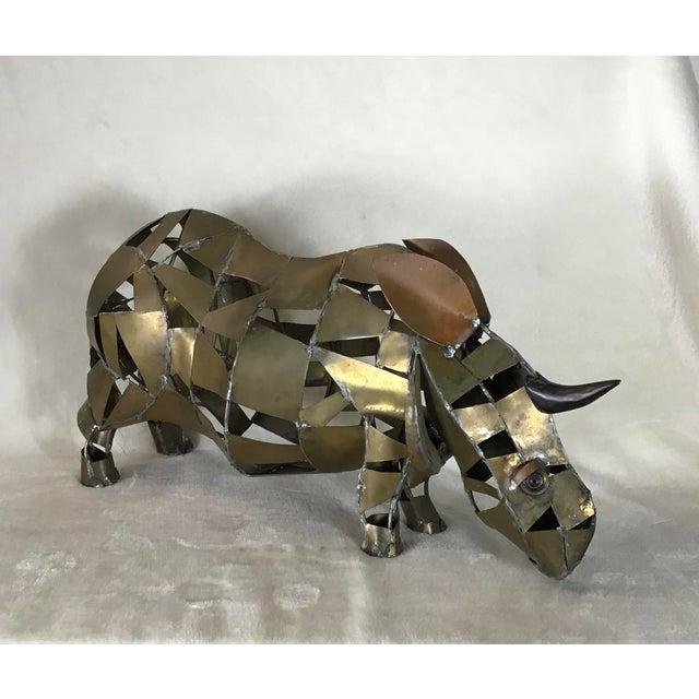 Vintage Mid-Century Brutalist Brass Copper Rhino Freestanding Sculpture For Sale - Image 11 of 11