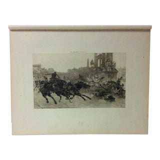 """Antique Photogravure on Paper, """"Rome Under Trajan - a Chariot Race"""" by Ulpiano Checa - Circa 1860 For Sale"""
