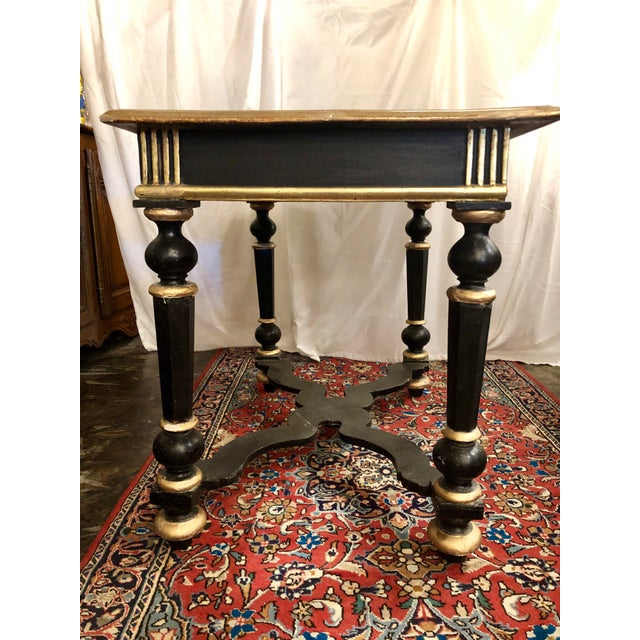 Napoleon III Black Lacquer and Gilt Center Table For Sale - Image 4 of 8