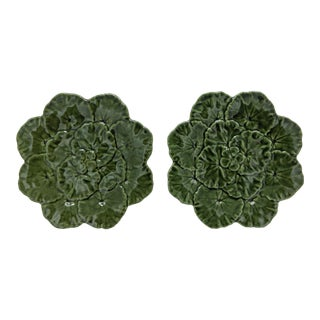 20th Century Vintage Green Leaf Majolica Plates - a Pair For Sale