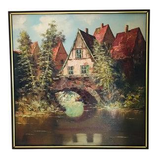 Vintage Mid-Century Modern Large Framed Painting on Canvas Signed For Sale