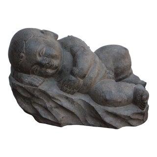 Chinese Oriental Stone Reclining Sleeping Baby Kid Figure